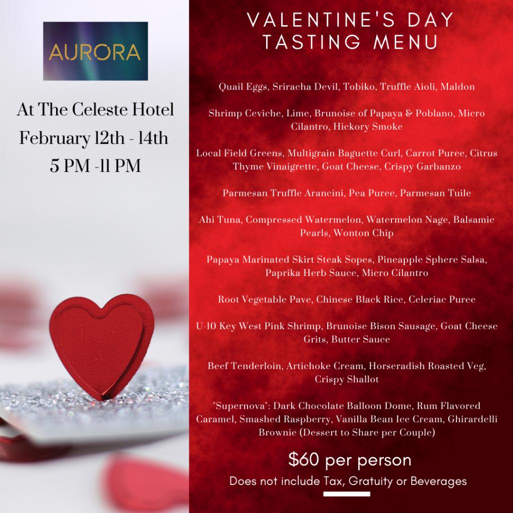 Valentine's day Aurora Menu